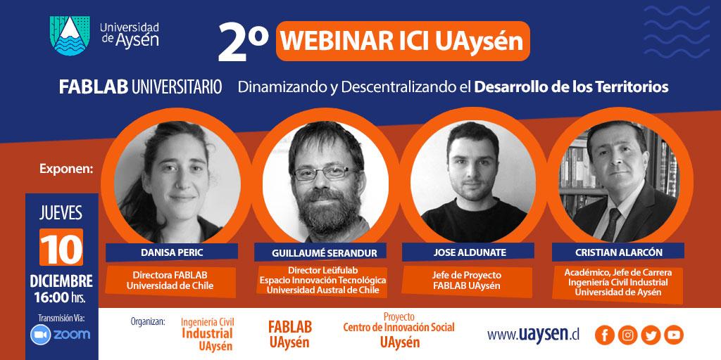 """2 Webinar Fablab Universiatario: """"Dinamizando y descentralizando el desarrollo de los territorios"""""""