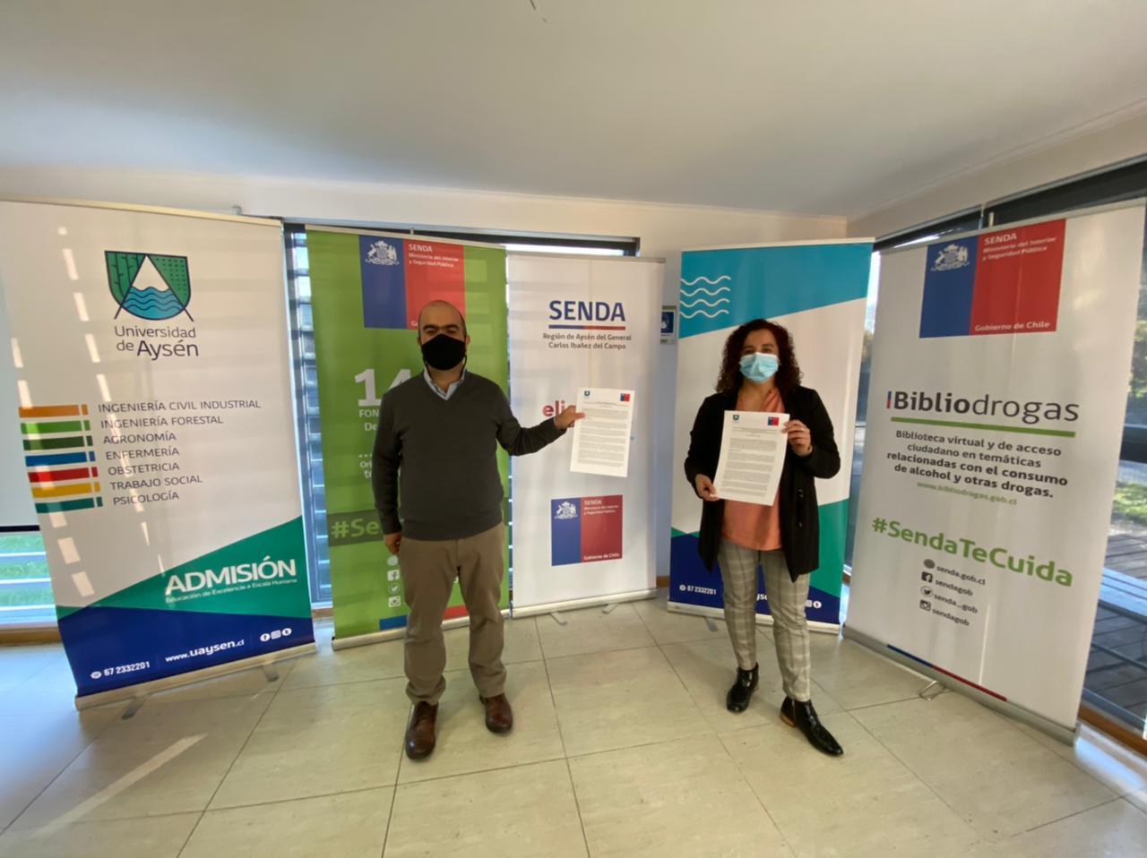 UAysén y Senda firman convenios para prevenir el consumo de alcohol y drogas en estudiantes