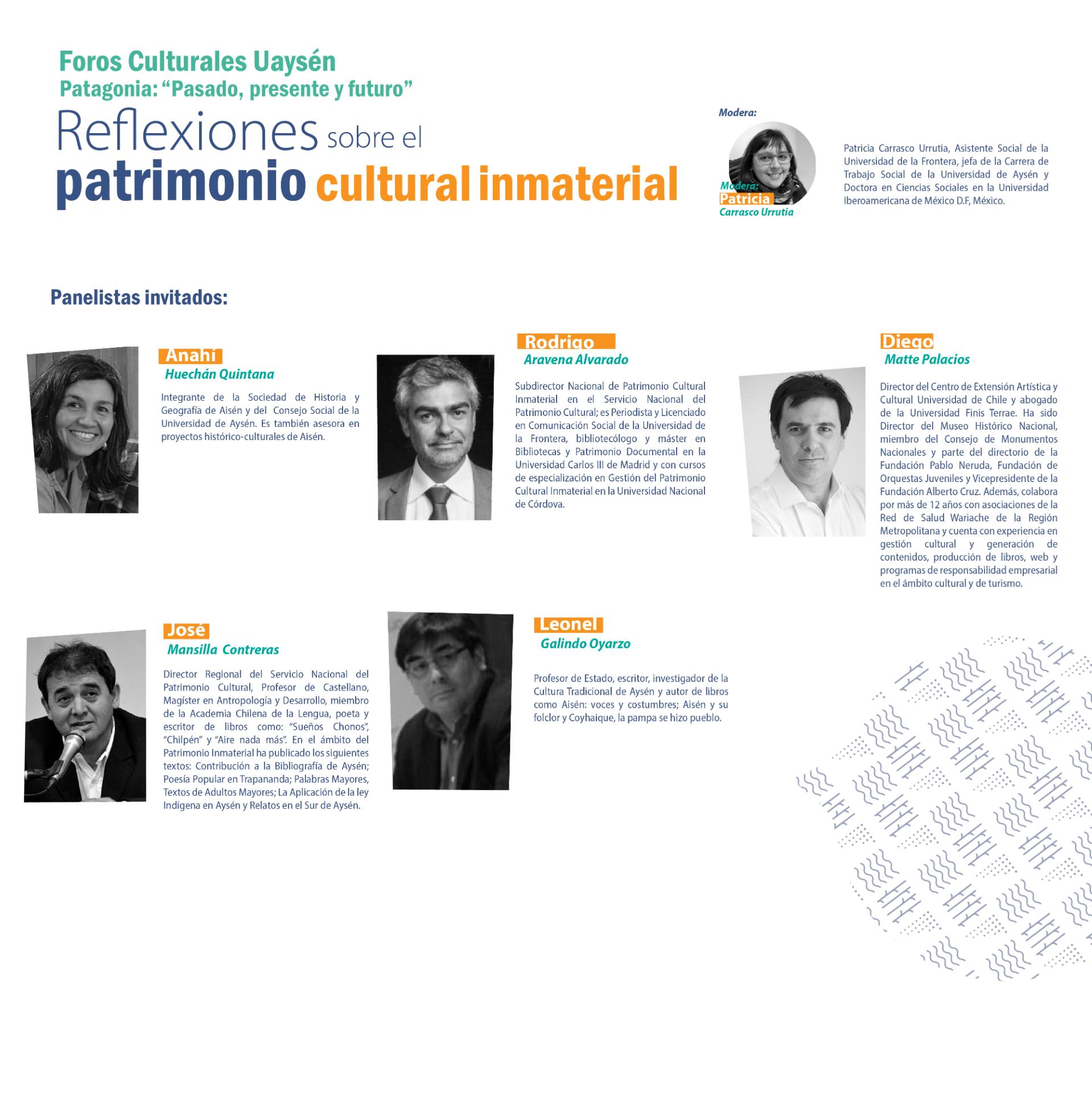 """Foros Culturales UAysén """"Patagonia: Pasado, presente y futuro"""" Reflexiones sobre el patrimonio cultural inmaterial"""