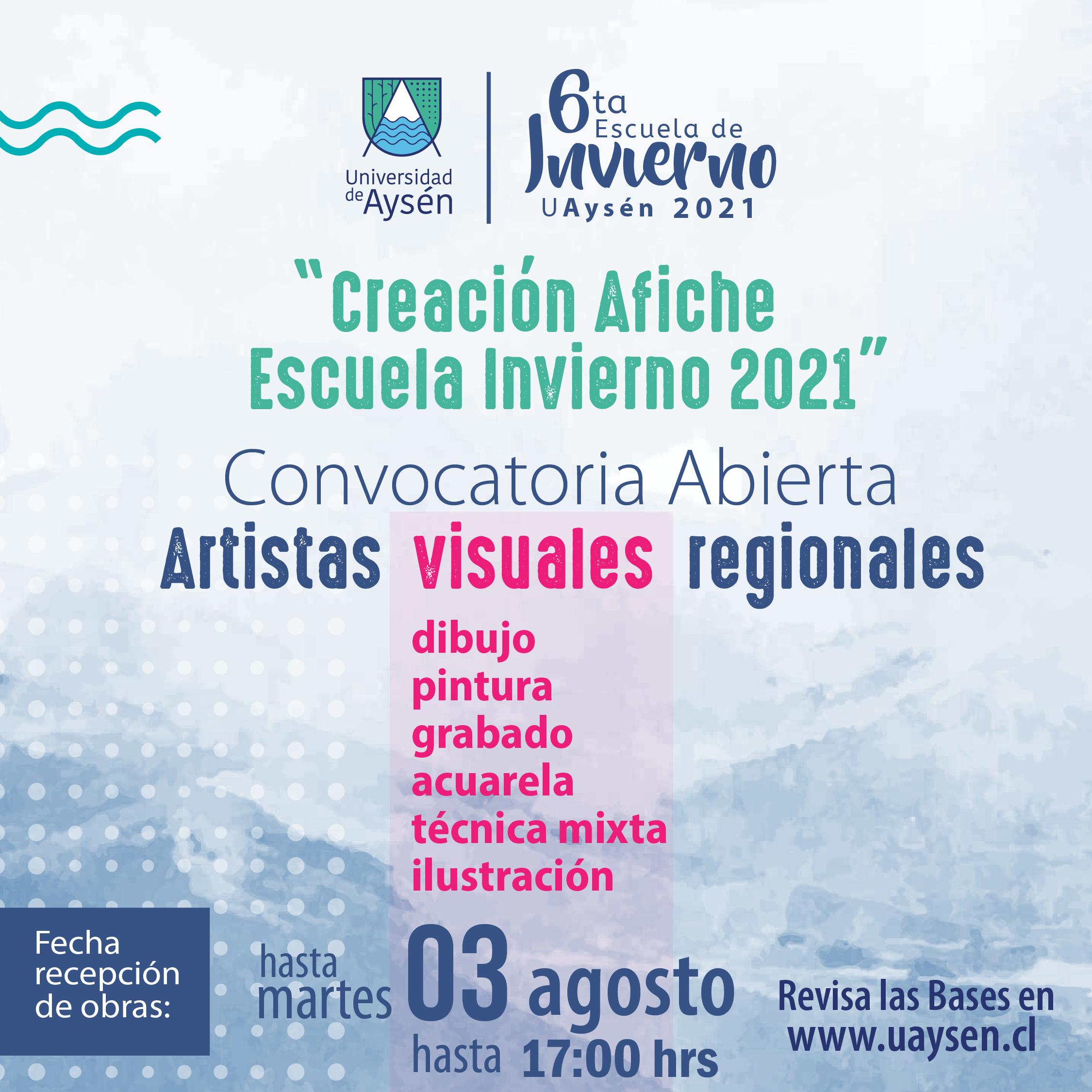 Convocatoria abierta artistas regionales creación afiche escuela de invierno 2021