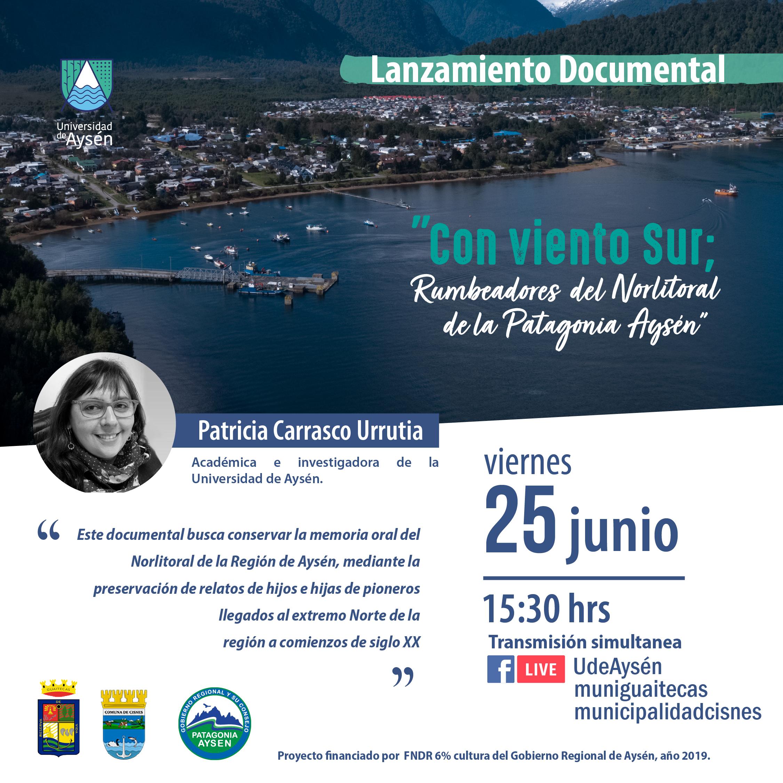 """Lanzamiento Documental """"Con Viento sur: Rumbeadores del Norlitoral de la Patagonia Aysén"""""""
